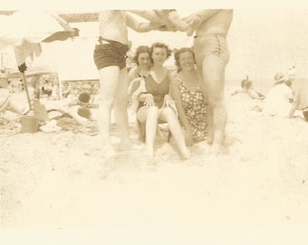 "Vintage Snapshot ""Ready, Set, Go"" Swimsuits Swim Trunks Beach Found Vernacular Photo"