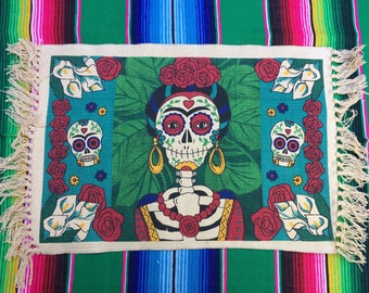 Set of 4 Day of the Dead Placemats - Dia de los Muertos - Frida - La Catrina