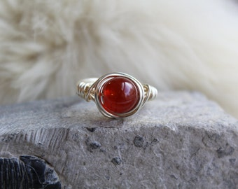 Custom Carnelian Wire Wrapped Ring/Silver Plated Gemstone Ring/Made to order/Customized Ring any size/pagan rings/root chakra/Stone Courage