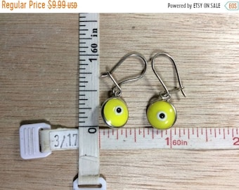 10%OFF3DAYSALE Vintage 925 Sterling Silver 2.1g Yellow Evil Eye Earrings Used
