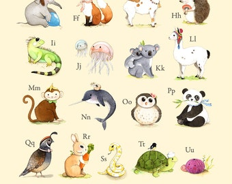 abc wall art, abc poster, abc art, ABC print, abc animals, alphabet print, alphabet art, abc nursery, alphabet poster, Watercolor