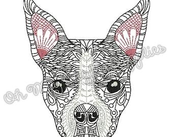 Henna Boston Terrier Embroidery Design