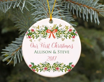 Wedding Ornament Our First Christmas Married Ornament Mr and Mrs Christmas Ornament Personalized Wedding Gift Retro Vintage Style Ornament