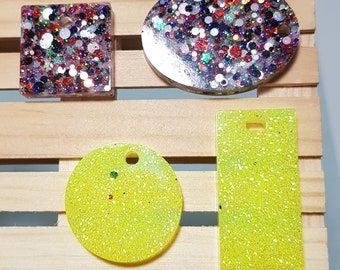 4 resin pierced pendants