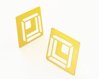 Gold Studs, Statement Earrings, Geometric Earrings, Elegant Earrings, Geometric Posts, Gold Post Earrings, Laser Cut Jewelry, Gift for Wife