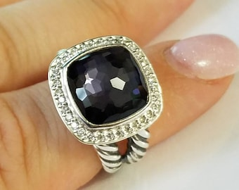 DAVID YURMAN Albion WITH 11 mm Black Orchid and Pave Diamonds Ring Size 9 Old Version