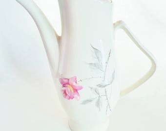 Vintage Coffee Pot Server, Ceramic, Moss Rose, Ballerina Universal, Mid Century