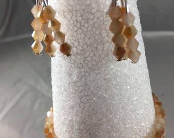 Peach beaded bracelet and earring set