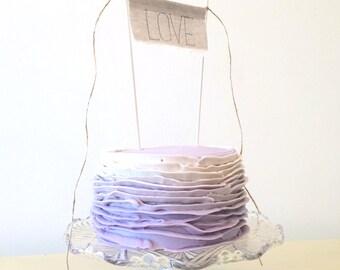 LOVE Cake Topper - Linen Banner Style - LOVE