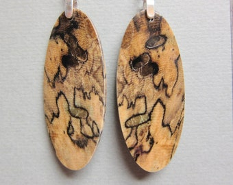 Oval Exotic Wood Earrings - Buckeye Burl long drop repurposed ecofriendly Handcrafted earthy