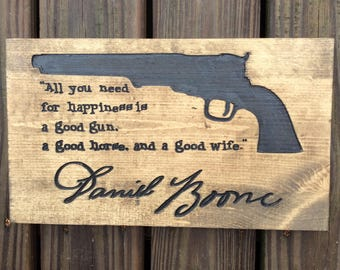 Wood Carving, Daniel Boone Quote and Real Signature