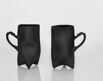 Black Porcelain cups set of two , ceramic cups handbuilt coffee cups or tea cups by ENDE