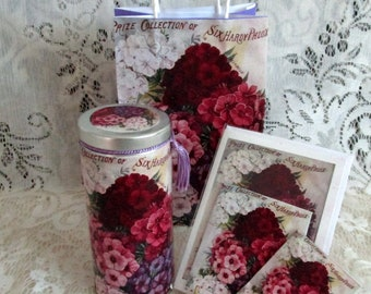 Phlox Vintage Tea Tin Gift Bag Set