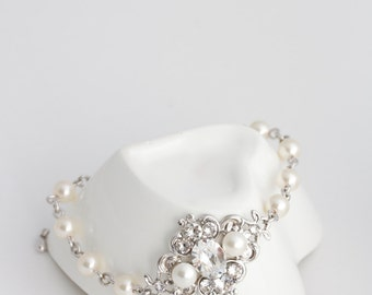 Ivory Pearl Bracelet Bridal Bracelet with Swarovski Pearl and crystals Vintage style Bracelet, Wedding Jewelry LEILA