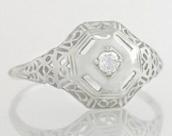 Antique .05ct Genuine Diamond 18K White Gold Filigree Art Deco Engagement Ring