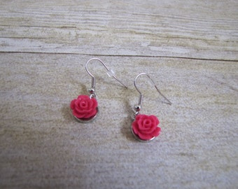 Hot Pink Flower Earrings