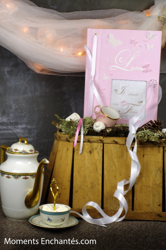 """Guestbook """"butterfly"""" pink  Personalized wedding Baptism"""