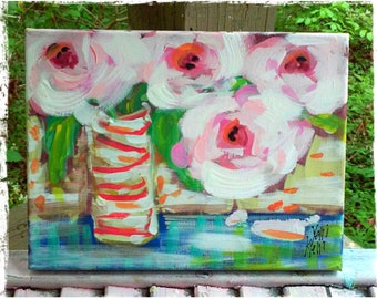 """Spring Special Abstract Flowers in Vase Pink Peonies Original Painting 9"""" x 12"""" Ready to Ship YelliKelli"""