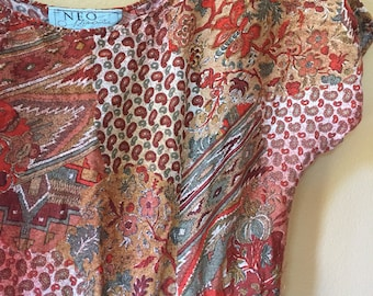 Vtg Rayon Casual Rusty Printed Seinf Dress