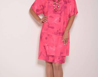Pink dress, summer dress, short sleeve dress, wrap dress, party dress, gift for women, day dress, short dress, womens dresses