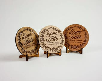 Wooden Wedding / Engagement Save the Date - Classic