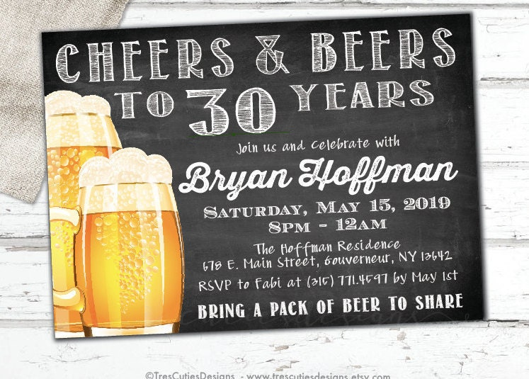 Cheers to 30 Years Male Birthday Invitation Chalkboard