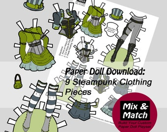 Steampunk Paper Doll- Mix & Match Digital Paper Doll Clothing Download- Printable Paper Doll Clothing Set- Steampunk Costume- Dress Up Doll