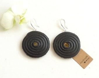 New Handmade DAIVA'S STUDIO Spiral Black Real Leather & Baltic amber Earrings Lagenlook