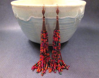 Tassel Earrings, Bright Rainbow, Glass Seed Beaded Fringe Earrings, Copper Dangle Earrings, FREE Shipping U.S.