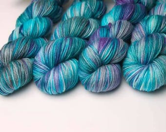 Hand dyed yarn 'Peacock Feathers' DK