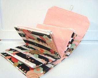 Cash Envelope Wallet  / Dave Ramsey System / Zipper Envelopes - Black and White Stripes With Floral