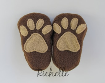 Animal Paw Baby Shoes, Brown Soft Sole Dog, Bear, Lion Cat Tiger Crib Shoes, Custom Infant Toddler Boy Girl Slippers, Shower Gift Idea