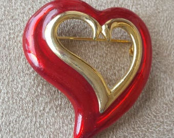 Mother's Day Love Brooch - Heart Pin - Goldtone and Red Enamel Vintage Jewelry Brooch