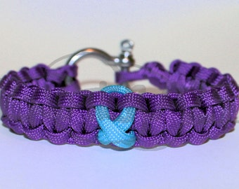 Ovarian Cancer Awareness TURQUOISE Ribbon 550 Paracord Survival Strap Bracelet Anklet with Stainless Steel Shackle