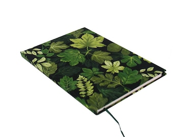 Handbound Hardcover Journal, Leaves, Upcycled, Classic Literature 2, 80 sheet, college rule