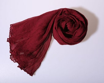 100% silk scarf, high quality crinkle silk georgette scarf, dark red, perfect Christmas gift, wedding gift, birthday gift for girl friend