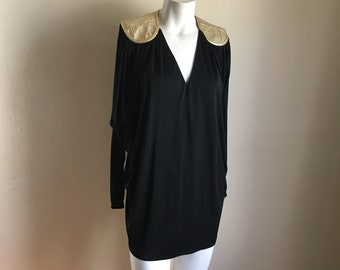 Vintage 70s Bill Tice Black Grecian Short Dress