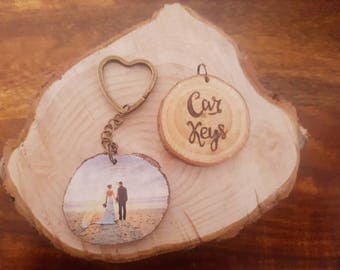 Wedding present, gift for couple, couple keychain, pyrography, log slice, his and hers, wooden keyring, rustic wedding, 5th anniversary gift