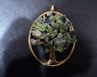 Tree of Life Pendant with Peridot and Moss Agate on Ribbon or Chain (1771)