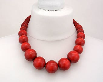 Red Wooden Bead Necklace | Chunky Red Necklace | Red Beaded Necklace