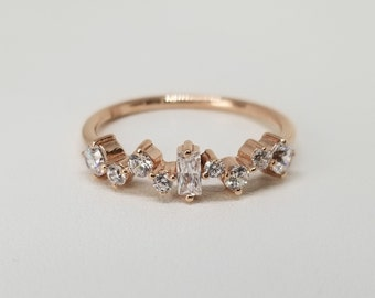 Rose Gold Ring, Cluster Ring, Promise Ring, Rose gold wedding ring, Multistone Ring, Birthstone ring, Cluster Gold Ring, Birthstone april