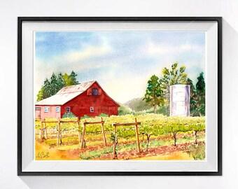 Art de la vigne, Original, peinture à l'aquarelle, vieille grange rouge, Grange paysage, paysage de vignoble, Napa Valley, vignoble, vin art comté