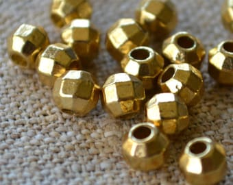20pcs Gold Bead 7mm Faceted Round Brass Metal Spacer Beads