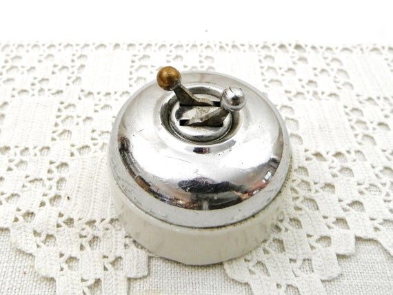 Vintage French 1920s Double Electrical Light Switch of Chrome and Ceramic, Old Retro Electric Switch for Steampunk Projects  from France