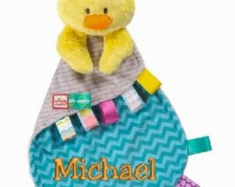 Personalised Bright Starts Taggies Snuggle Lovie Comfort Blanket, Duck Comforter