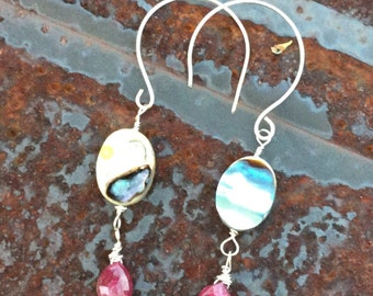 Ruby Teardrop Briolette and Abalone dangle earrings  Beach Wear  Genuine Ruby  July Birthstone  Healing Gemstone