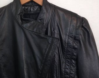 1980s black leather jacket by WILSONS, size 6