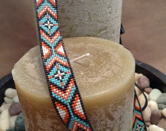 The Turquoise Cheyenne - Custom Beadwork, Hand Beaded Hat Band,  Cowboy Hat band