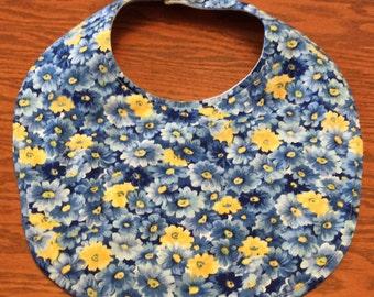 Baby Bib -Drool Bib - Blue and Yellow Flowers - Handmade - Baby Girl Bib