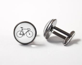 Bicycle cuff links Bicycle jewelry Men accessories Cyclist cufflinks Gift for cyclist Bicycle jewellery Bike cuff links Racing bike Sport
